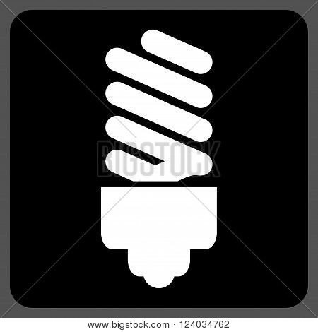 Fluorescent Bulb vector icon symbol. Image style is bicolor flat fluorescent bulb pictogram symbol drawn on a rounded square with black and white colors.