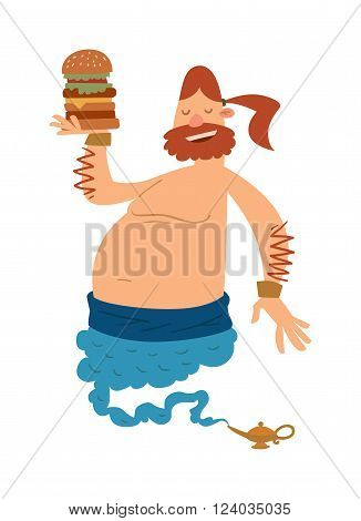 Cartoon fat boy gin with large hamburger coming out of a magic lamp flat vector illustration. Vector Cartoon fatboy gin and magic lamp. Character fat boy gin.