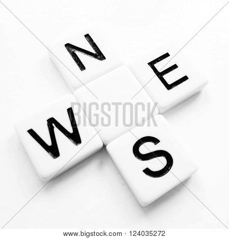 Compass directions north, south, east and west indicated by black letters N, E, S, W on white tiles