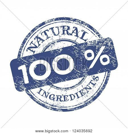 Blue grunge rubber stamp with the text one hundred percent natural ingredients written on the stamp