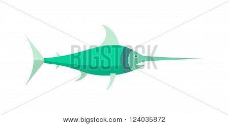 Saw fish marine character vector cartoon illustration. Saw fish underwater nature. Fish-saw ocean animal. Saw fish marine life. Food fish wildlife cartoon animal. Saw fish vector.