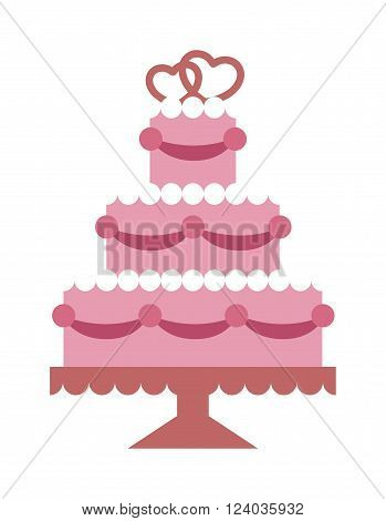 Wedding cake pink with hearts and beads flat vector. Wedding pie sweet dessert. Party food. Wedding pie event decoration food. Pie Food vector. Save the date flat design style