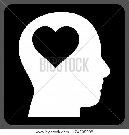 Lover Head vector icon. Image style is bicolor flat lover head icon symbol drawn on a rounded square with black and white colors.