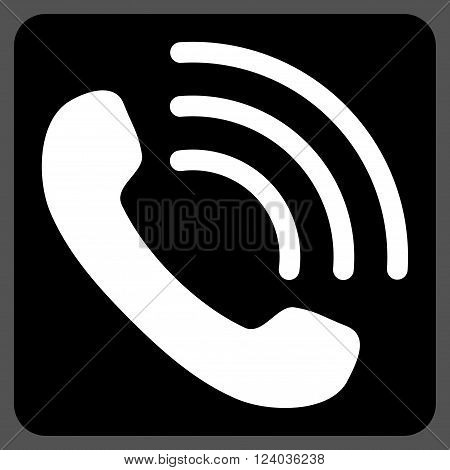 Phone Call vector symbol. Image style is bicolor flat phone call pictogram symbol drawn on a rounded square with black and white colors.