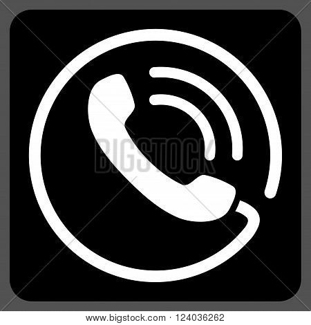 Phone Call vector icon symbol. Image style is bicolor flat phone call icon symbol drawn on a rounded square with black and white colors.