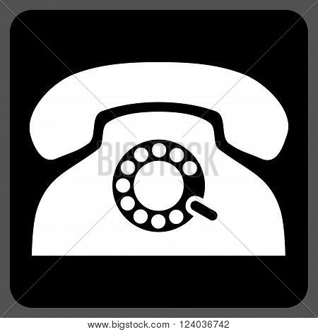 Pulse Phone vector symbol. Image style is bicolor flat pulse phone iconic symbol drawn on a rounded square with black and white colors.