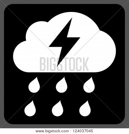 Thunderstorm vector symbol. Image style is bicolor flat thunderstorm icon symbol drawn on a rounded square with black and white colors.