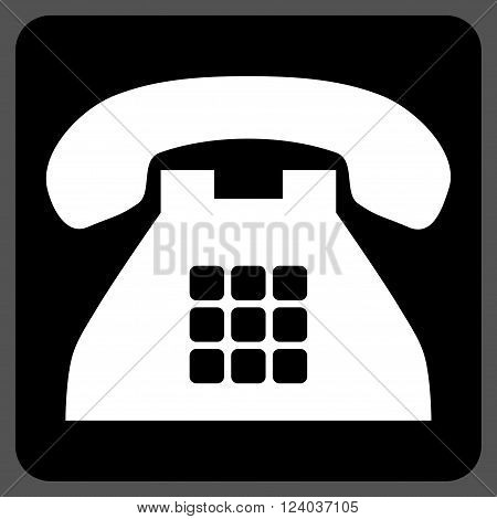 Tone Phone vector symbol. Image style is bicolor flat tone phone pictogram symbol drawn on a rounded square with black and white colors.