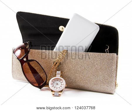 female bag with phone sunglasses and watch