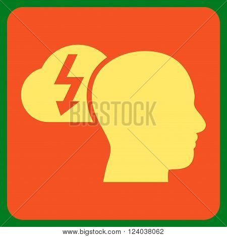 Brainstorming vector icon. Image style is bicolor flat brainstorming iconic symbol drawn on a rounded square with orange and yellow colors.