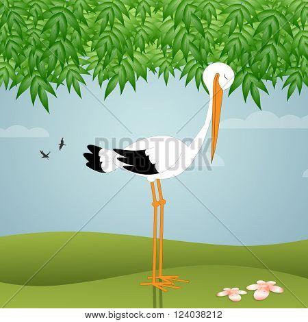 an illustration of stork standing in the garden