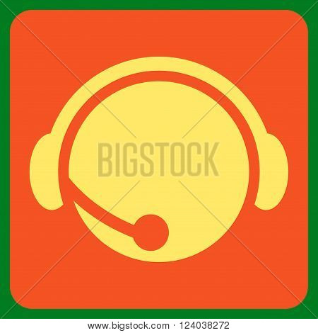 Call Center Operator vector icon symbol. Image style is bicolor flat call center operator pictogram symbol drawn on a rounded square with orange and yellow colors.