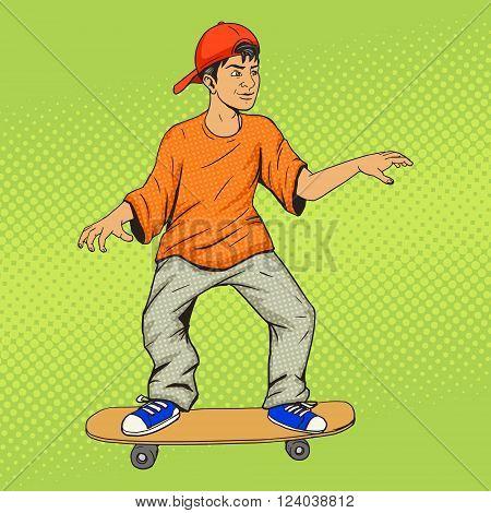 Teenager on a skateboard pop art vector illustration. Colorful hand drawn illustration