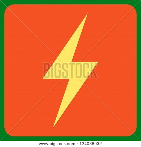 Electricity vector icon. Image style is bicolor flat electricity icon symbol drawn on a rounded square with orange and yellow colors.