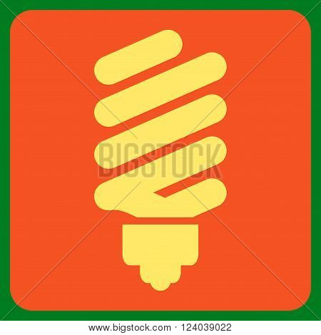 Fluorescent Bulb vector pictogram. Image style is bicolor flat fluorescent bulb icon symbol drawn on a rounded square with orange and yellow colors.