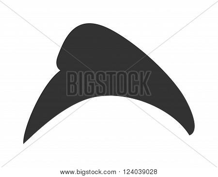 Black hat cartoon vector illustration. Front View of cap Isolated on white Background. Black hat fashion clothing. Warm hat cap accessory.