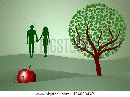 Adam and Eve silhouette in the creation