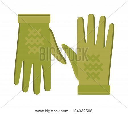 Spring green gloves cartoon vector illustration. Woman leather spring gloves isolated on white. Spring gloves fashion accessory. Womens spring gloves. Vector spring gloves.