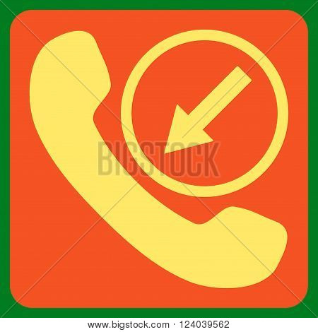 Incoming Call vector icon. Image style is bicolor flat incoming call icon symbol drawn on a rounded square with orange and yellow colors.