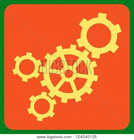 Mechanism vector symbol. Image style is bicolor flat mechanism pictogram symbol drawn on a rounded square with orange and yellow colors.