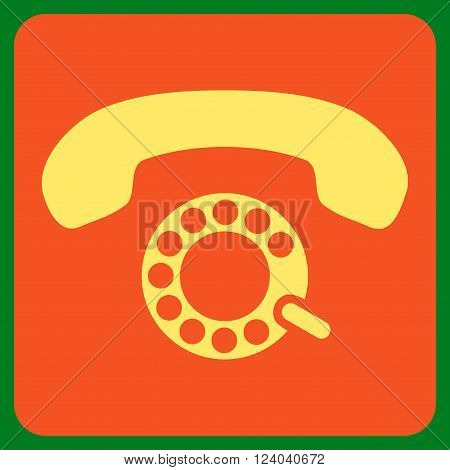 Pulse Dialing vector symbol. Image style is bicolor flat pulse dialing icon symbol drawn on a rounded square with orange and yellow colors.