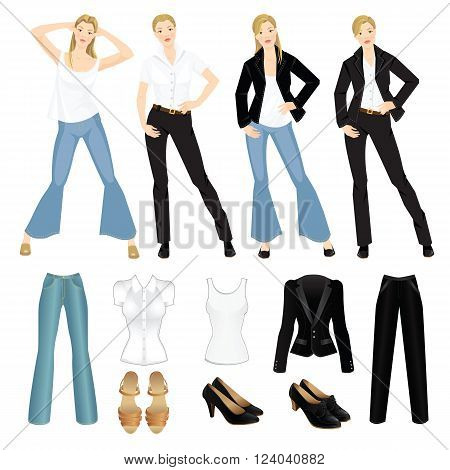 Vector illustration of different look with black suit, blue jeans and white shirt. Girls in casual and formal style of clothes. Various hairstyle. Base wardrobe.