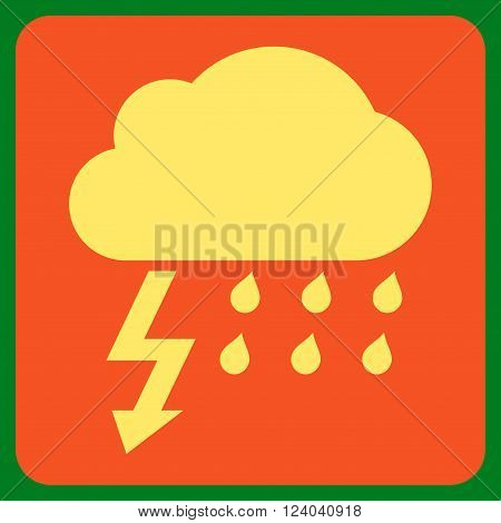 Thunderstorm vector symbol. Image style is bicolor flat thunderstorm icon symbol drawn on a rounded square with orange and yellow colors.