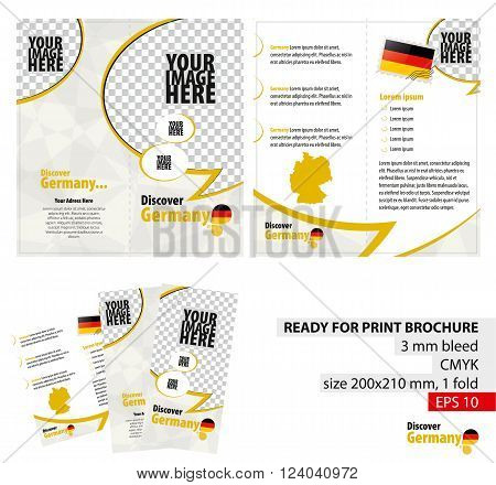 Brochure Design Template Discover Germany. Ready for Print 3 mm Bleed. Flayer Leaflet Booklet Template. Vector Illustration.