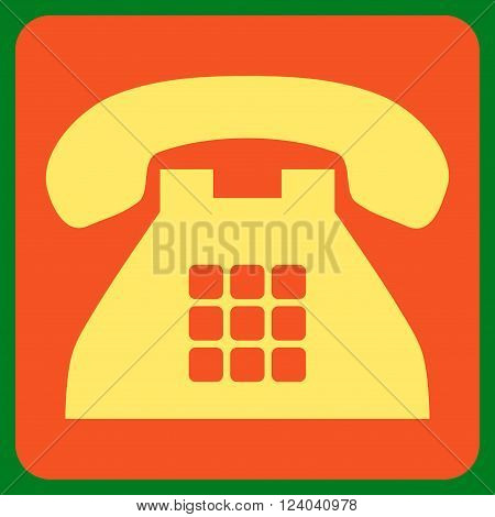 Tone Phone vector icon symbol. Image style is bicolor flat tone phone pictogram symbol drawn on a rounded square with orange and yellow colors.