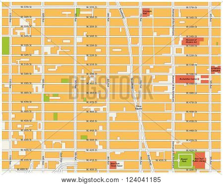 theater district map, midtown manhattan, new york city