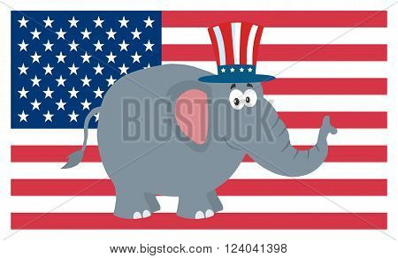 Republican Elephant Cartoon Character With Uncle Sam Hat Over USA Flag