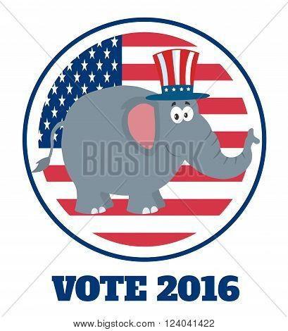 Republican Elephant Cartoon Character With Uncle Sam Hat Over USA Flag Label And Text