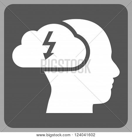 Brainstorming vector icon. Image style is bicolor flat brainstorming pictogram symbol drawn on a rounded square with dark gray and white colors.