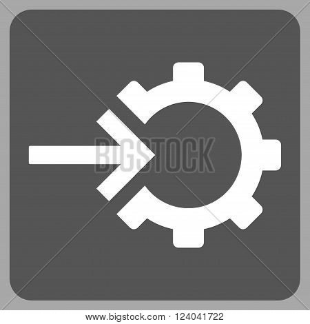 Cog Integration vector pictogram. Image style is bicolor flat cog integration pictogram symbol drawn on a rounded square with dark gray and white colors.