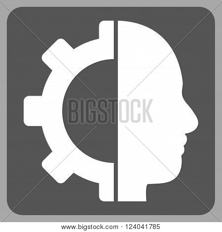 Cyborg Gear vector symbol. Image style is bicolor flat cyborg gear icon symbol drawn on a rounded square with dark gray and white colors.
