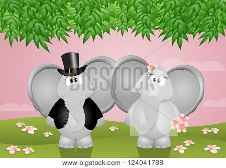 an illustration of two funny elephants married