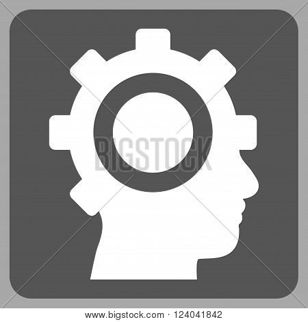 Cyborg Gear vector pictogram. Image style is bicolor flat cyborg gear pictogram symbol drawn on a rounded square with dark gray and white colors.