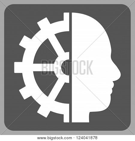 Cyborg Gear vector pictogram. Image style is bicolor flat cyborg gear icon symbol drawn on a rounded square with dark gray and white colors.