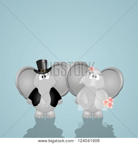 a funny illustration of couple of elephants married