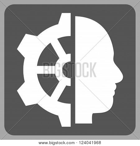 Cyborg Gear vector icon. Image style is bicolor flat cyborg gear pictogram symbol drawn on a rounded square with dark gray and white colors.