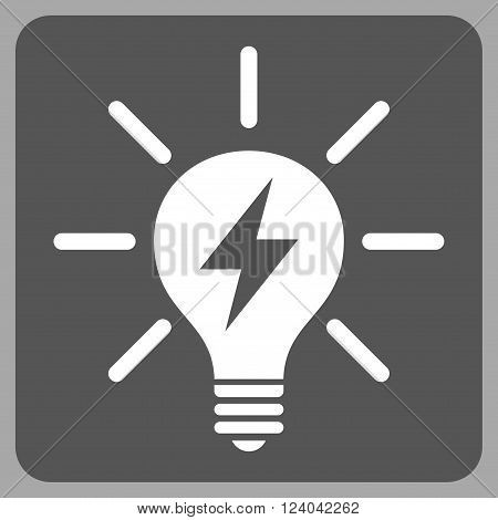 Electric Light Bulb vector icon symbol. Image style is bicolor flat electric light bulb icon symbol drawn on a rounded square with dark gray and white colors.