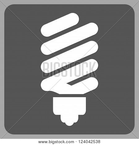 Fluorescent Bulb vector symbol. Image style is bicolor flat fluorescent bulb iconic symbol drawn on a rounded square with dark gray and white colors.