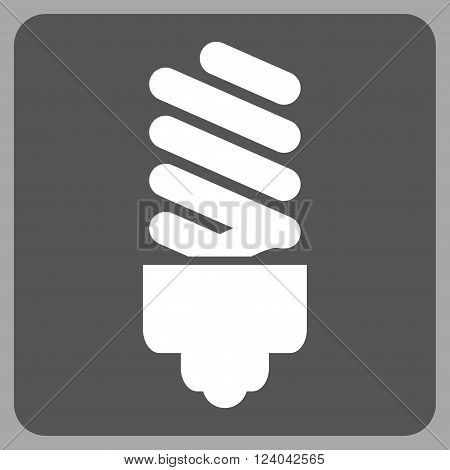 Fluorescent Bulb vector icon symbol. Image style is bicolor flat fluorescent bulb iconic symbol drawn on a rounded square with dark gray and white colors.