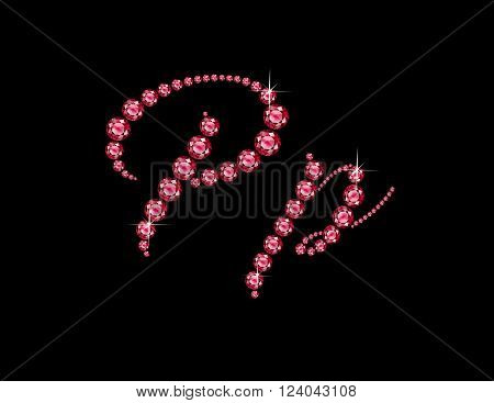 Pp in stunning Ruby Script precious round jewels isolated on black.