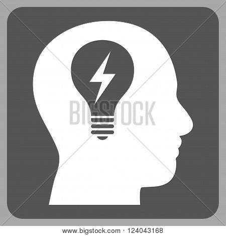 Head Bulb vector pictogram. Image style is bicolor flat head bulb icon symbol drawn on a rounded square with dark gray and white colors.