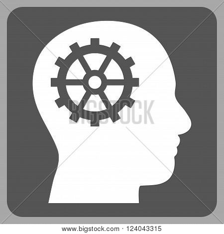 Intellect vector pictogram. Image style is bicolor flat intellect pictogram symbol drawn on a rounded square with dark gray and white colors.