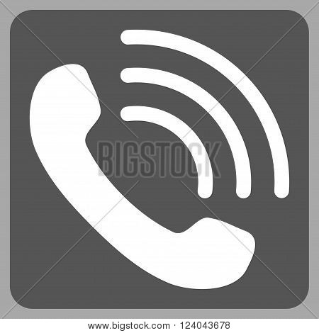 Phone Call vector pictogram. Image style is bicolor flat phone call icon symbol drawn on a rounded square with dark gray and white colors.