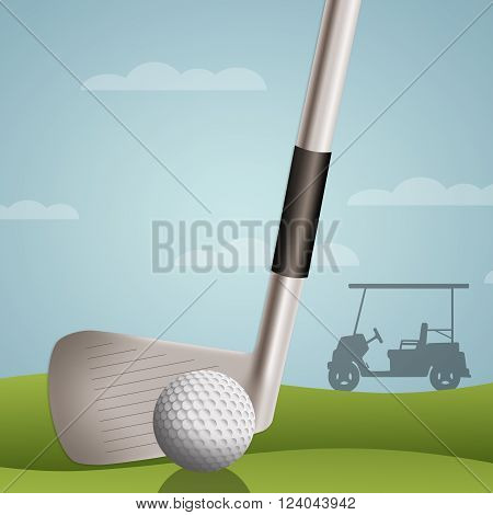 an illustration of club and golf ball