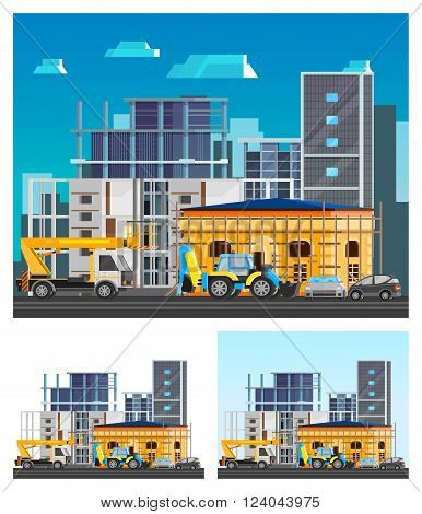 Building construction orthogonal compositions set with city flat isolated vector illustration