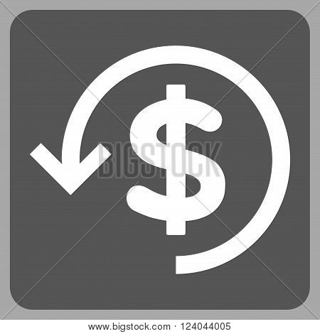 Refund vector icon symbol. Image style is bicolor flat refund icon symbol drawn on a rounded square with dark gray and white colors.
